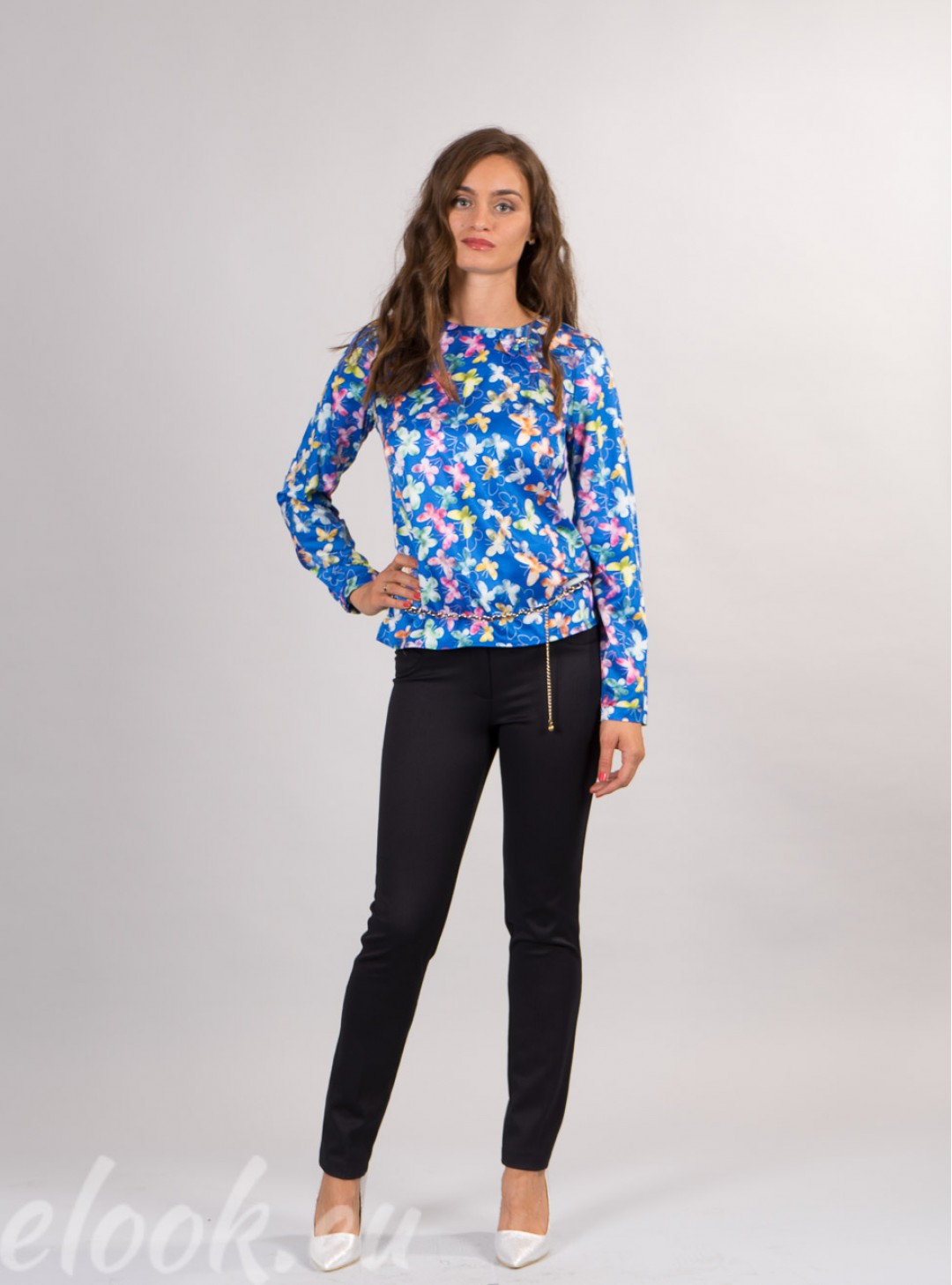 Blouse with a print, butterfli...