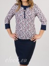Blouse with 3/4 sleeves, a print on daisies, one-coloured cuffs and collar