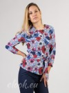Blouse with 3/4 sleeves, belt and print on large poppies