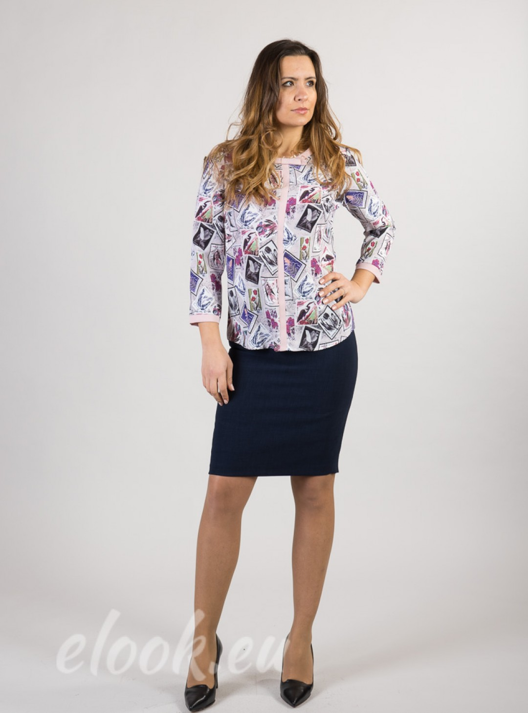 Blouse with print motif on sta...