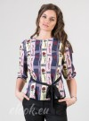 Blouse in color stripes and print on red roses and African motifs