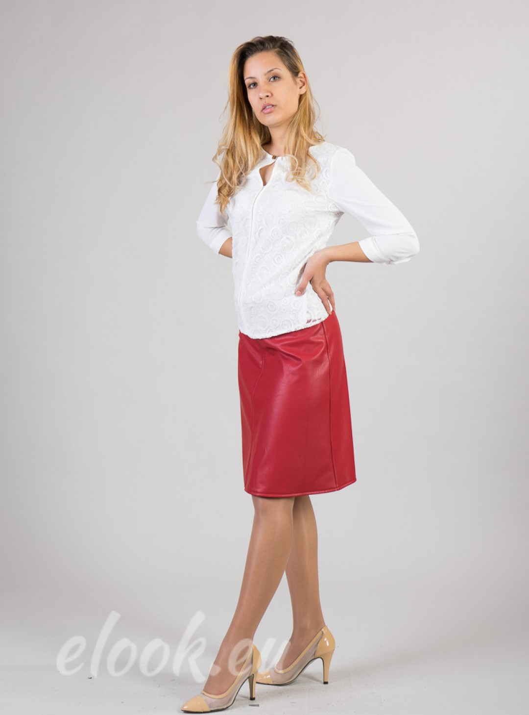 Leather skirt with cut a-line....