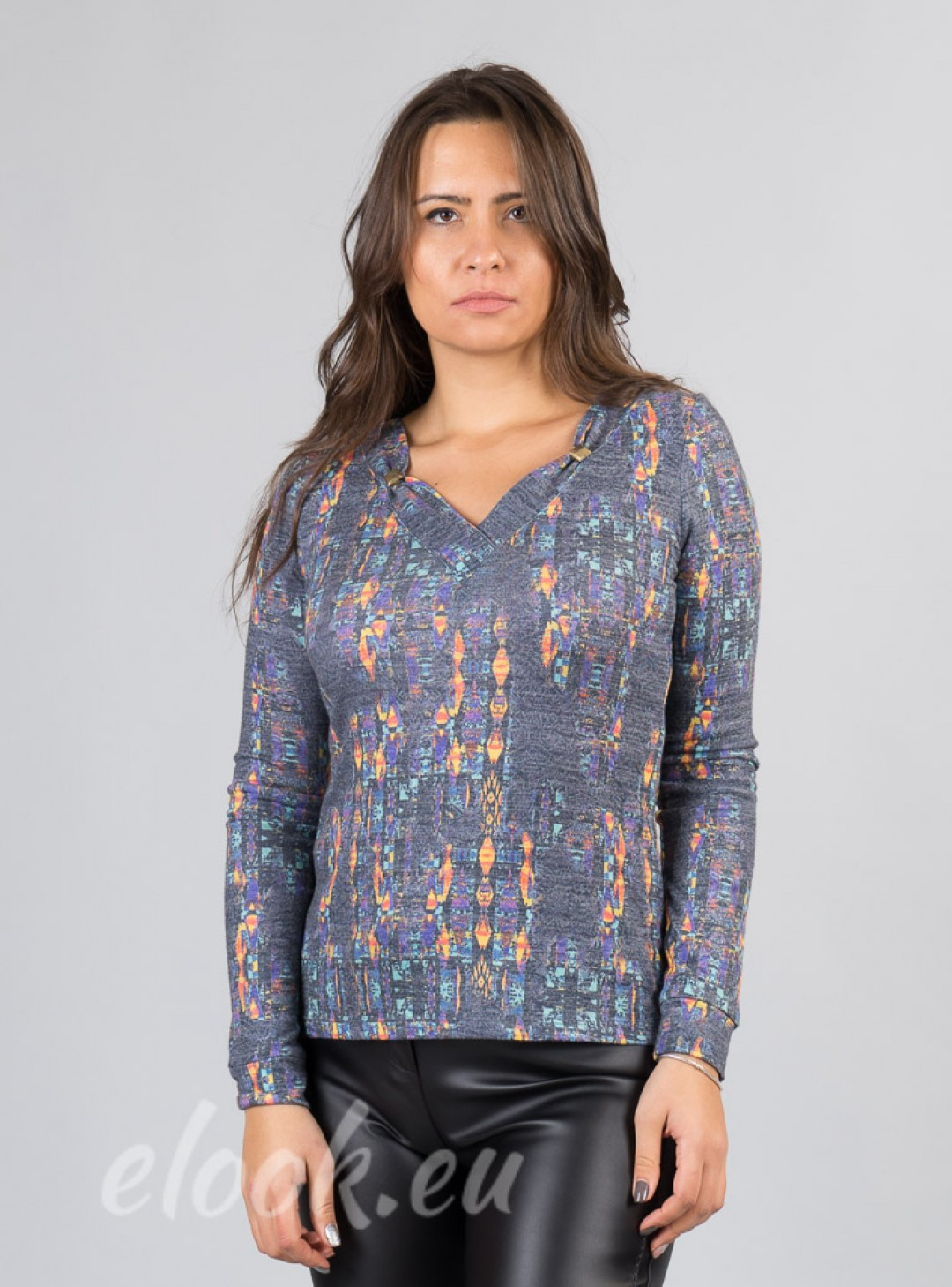 Blouse abstract painted patter...