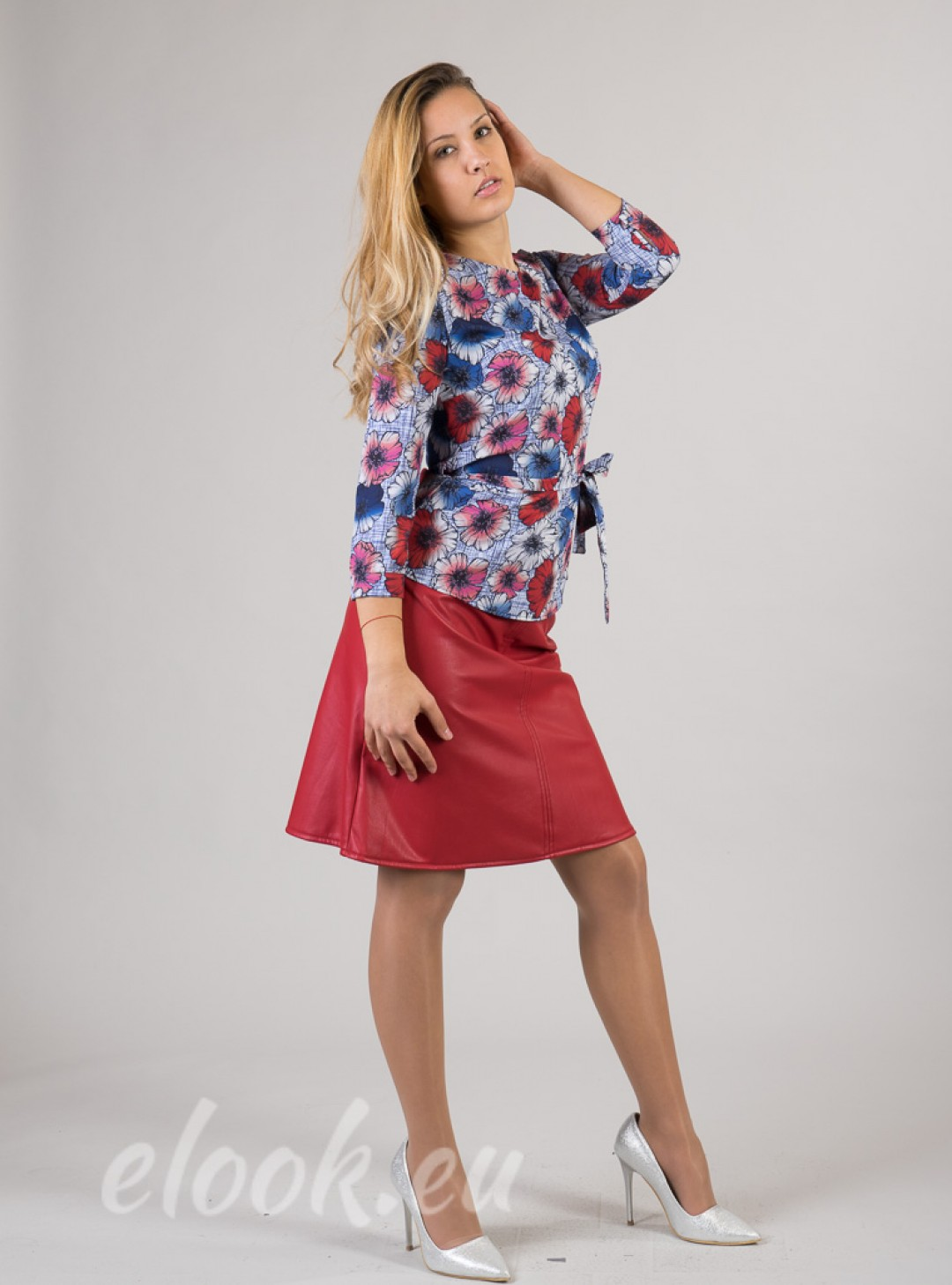 Blouse with 3/4 sleeves, belt ...