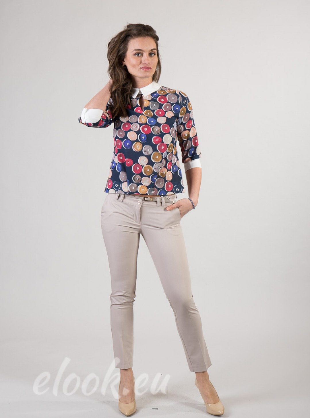 Blouse with cuffs and collar, ...