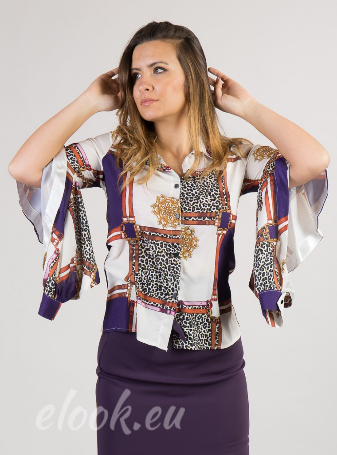 Open-sleeve shirt and printed ...