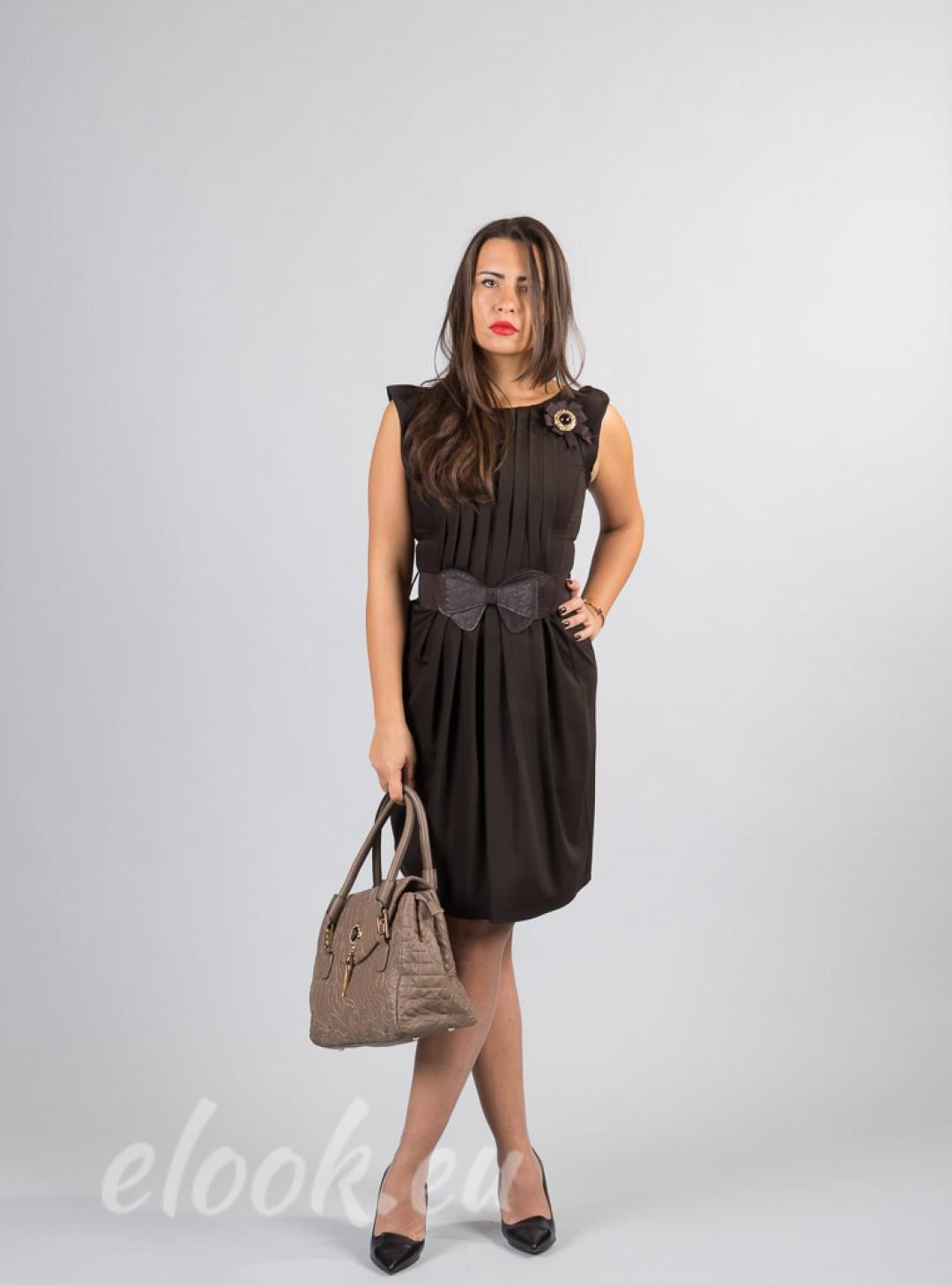 Dress, long pleated, high busi...