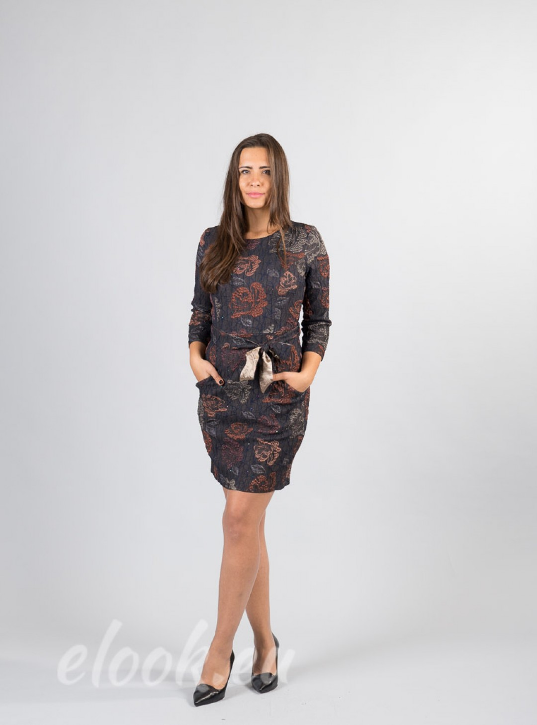 Dress in textured fabric with ...