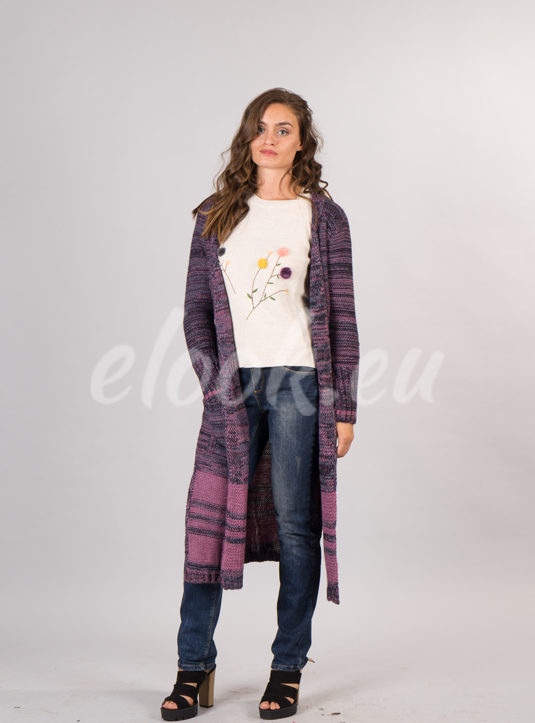 Long knitted style patchwork c...